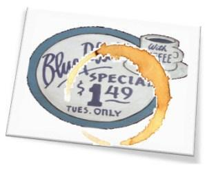 seo tips for restaurants image of blue plate special napkin stained with coffee