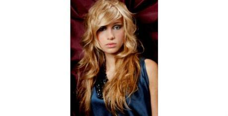 Long Curly Layers with Side-Swept Bangs