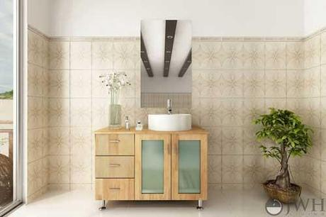 Natural Wood Vanity with Sink on the Right