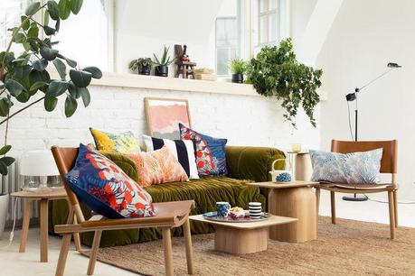 Marimekko spring/summer 2015 collection with velvet sofa and patterned pillows
