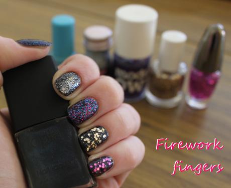 Firework nail polish varnish opia eyeko models own disco mix avon gold purple silver blue bonfire night