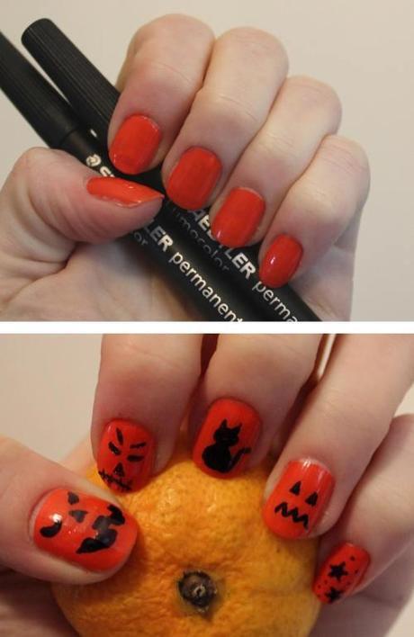 halloween-manicure-diy-nail-art-tutorial-orange-and-black-pumpkin-faces