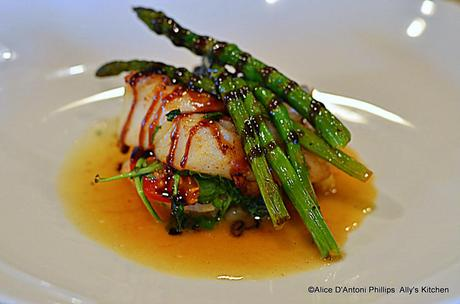 'Pan Seared Stacked Arugula & Campari Tomato Cod' Drizzled with Fig Balsamic Glaze