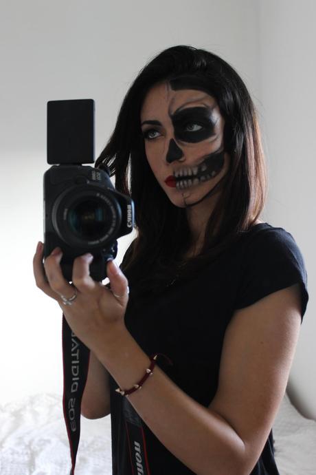 Half Skull Half Glamour (Last Minute) Halloween Makeup Tutorial ...