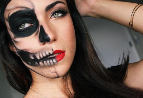 half skull half glamour last minute halloween makeup