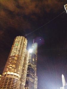 Nik Wallenda starts his tightrope walk across the Chicago River