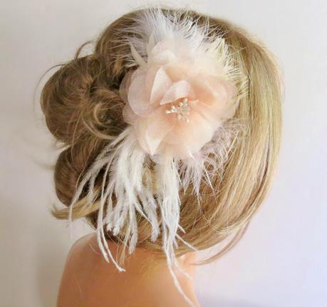 <Blush Wedding Hair Piece, Floral Bridal Hair Piece, Blush Fascinator, Wedding Hair Accessory, Blush Wedding Hair Flower Clip with Feathers by FancieStrands on Etsy alt=
