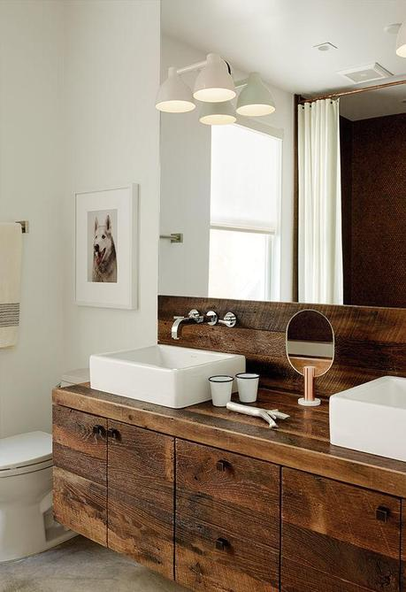 Copper, Penny tile bathroom in San Francisco with reclaimed oak and duravit sinks with top knob pulls