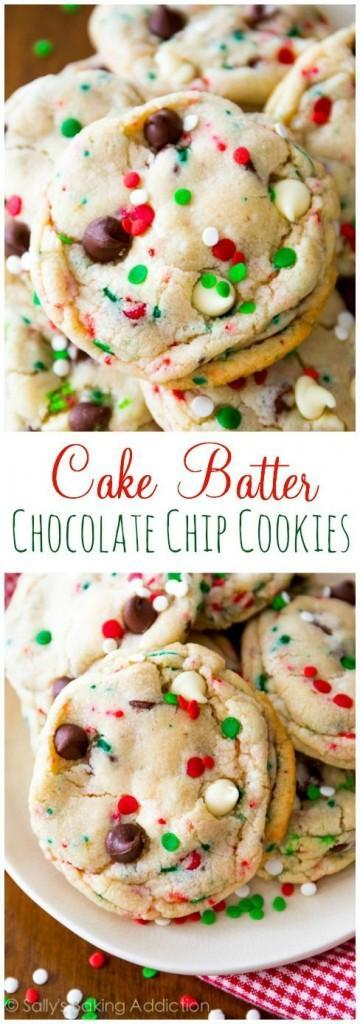 Cake batter Chocolate Chip Christmas Cookies