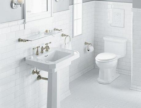 All White Bathroom with Pedestal Sink