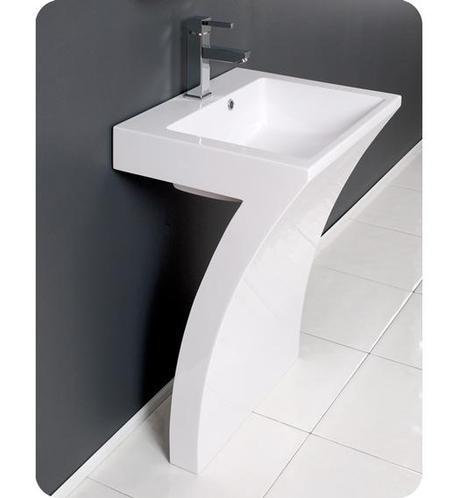 Fresca Quadro Pedestal Sink FVN5024WH_QUADRO