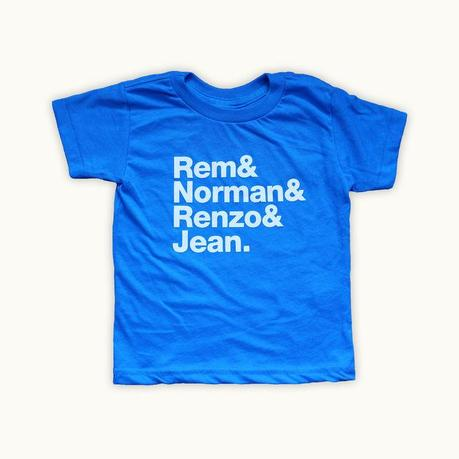 Kids t-shirt with architects names in the Dwell holiday gift guide 2014 for children