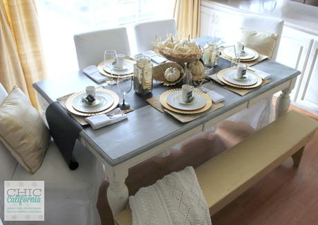 Thanksgiving Table Setting and Gold Bench