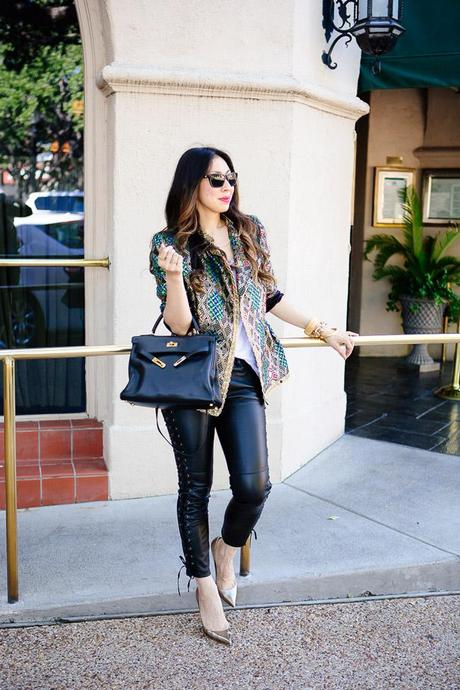 style of sam, isabel marant pour h&m leather pants, vintage gold brocade jacket, how to wear leather and vintage, hermes kelly, how to wear an hermes kelly