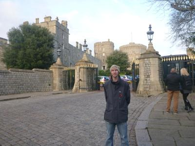 Outside Windsor Castle the day the Queen was at home.