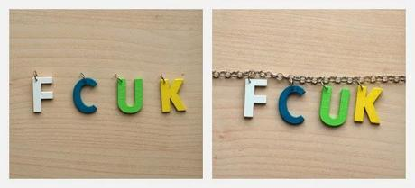 FCUK Wooden Letters Necklace