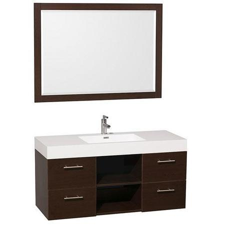 Wall Mounted Vanity with Integrated Sink