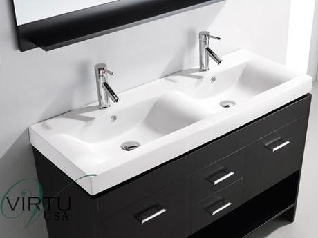 Virtu USA Gloria Bathroom Vanity with Integrated Sinks