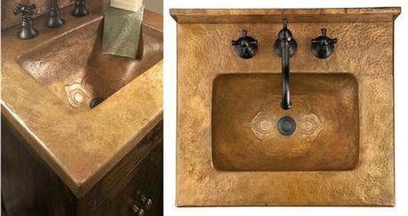 Bathroom Vanity with Copper Integrated Sink