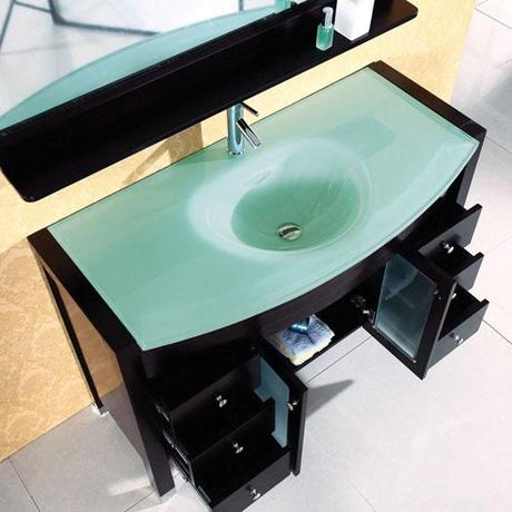 Integrated sink bathroom vanities inspired with design for Tempered glass countertop