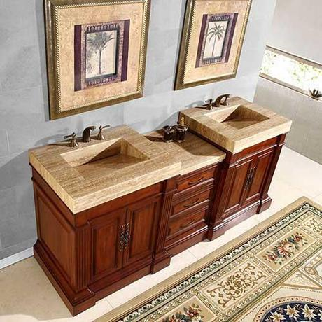 Rutilius Vanity with Travertine Integrated Sink Top