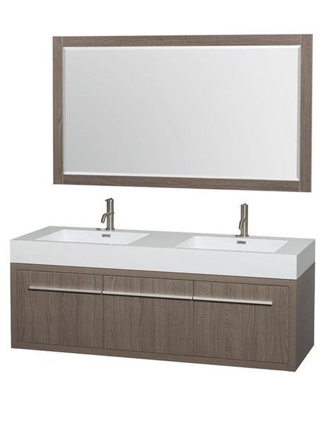 Ava Double Sink Gray Oak Bathroom Vanity