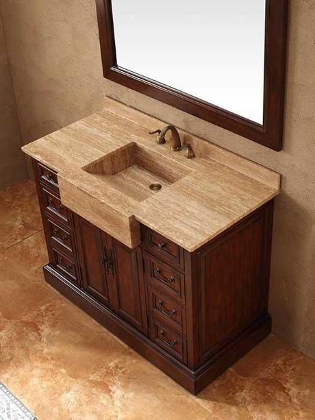 48 Inch Carlow Single Bath Vanity with Travertine Sink Top