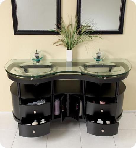 Unico Glass Top Bathroom Vanity