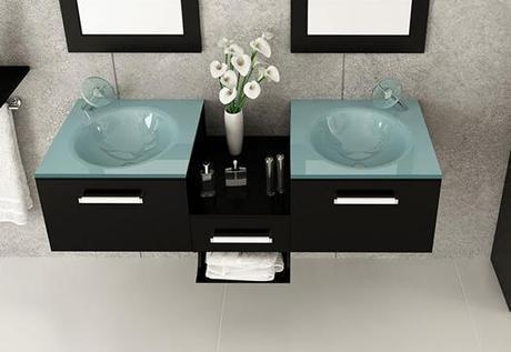 Double Sink Glass Wall Mount Vanity