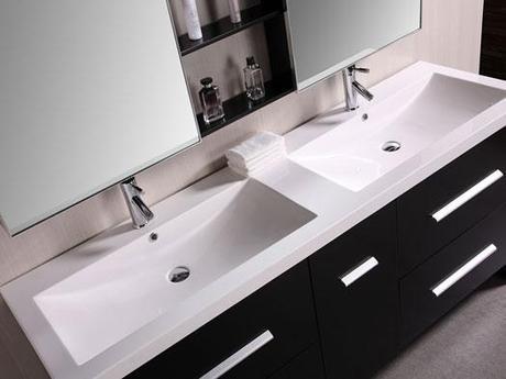 Modern Bathroom Vanity with Integrated Sinks