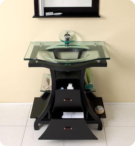 Cortese Vanity with integrated Glass Top