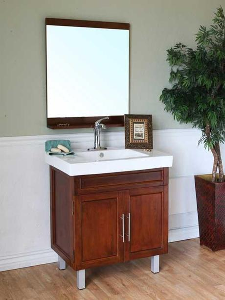 Walnut Vanity with Porcelain Integrated Countertop