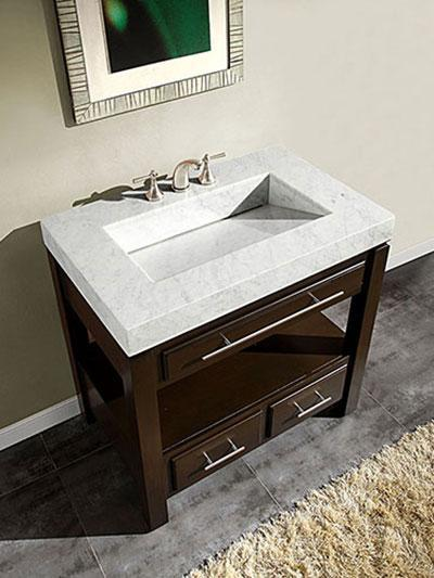 Aguila Single Bath Vanity with White Marble Integrated Sink