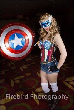 Sparky Cosplay as Female Captain America (Photo by Firebird Photography)