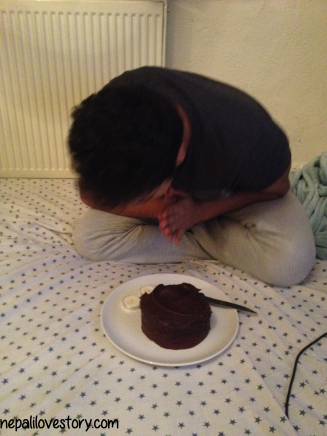 I still managed to hobble to give him his cake!  - M and his birthday wishes