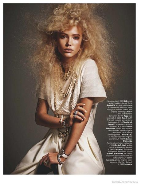 Kim van der Laan Wears Curly Hair & Sparkling Gems for Marie Claire Netherlands