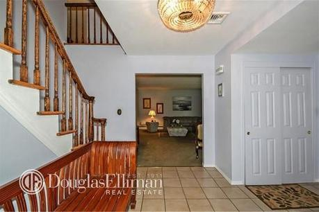 Entryway with a bench that is too big for the space