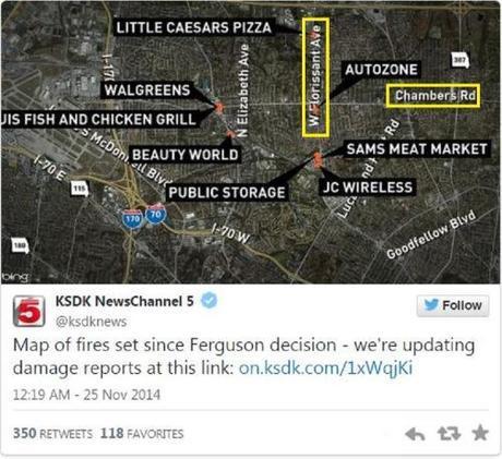 Ferguson riots businesses destroyed