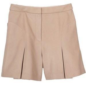 TIBI Pleated Leather Shorts