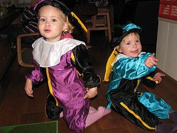 English: Two children dressed up as 'zwarte pi...