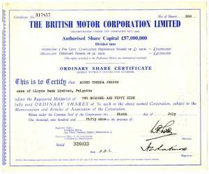 British Motor Corporation share certificate from 1959.