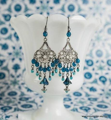 Minou Bazaar Blue Peacock Earrings