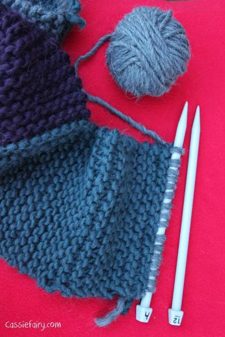 ombre color block scarf knitting project-6