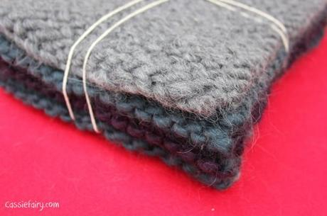 ombre color block scarf knitting project-14