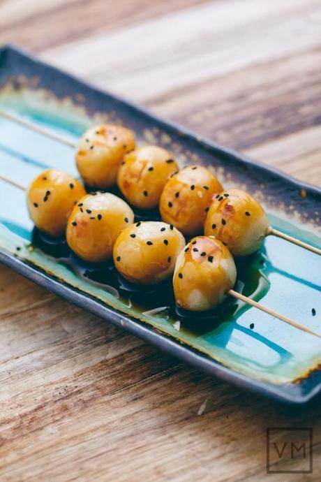 Mitarashi Dango (Sweet Glazed Japanese Skewered Rice Dumplings) from Vegan Miam
