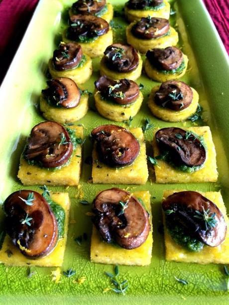 Lemon Thyme Polenta Bites with Argula Pesto & Mushrooms from the Seasonal Veg Head