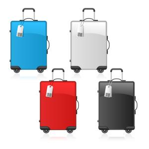 Travel suitcase black, red, blue and white