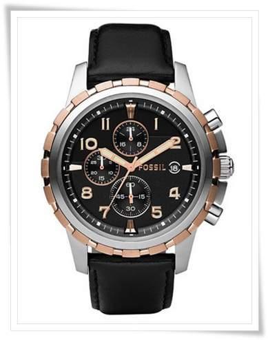 Fossil Mens FS4545 Black Leather Strap Black Analog Dial Chronograph Watch1 mens fashion