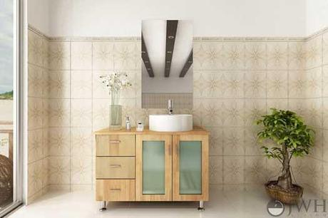 Natural Wood Lune Vanity with Frosted Glass Doors