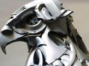 Recycled Hubcap Animal Sculptures